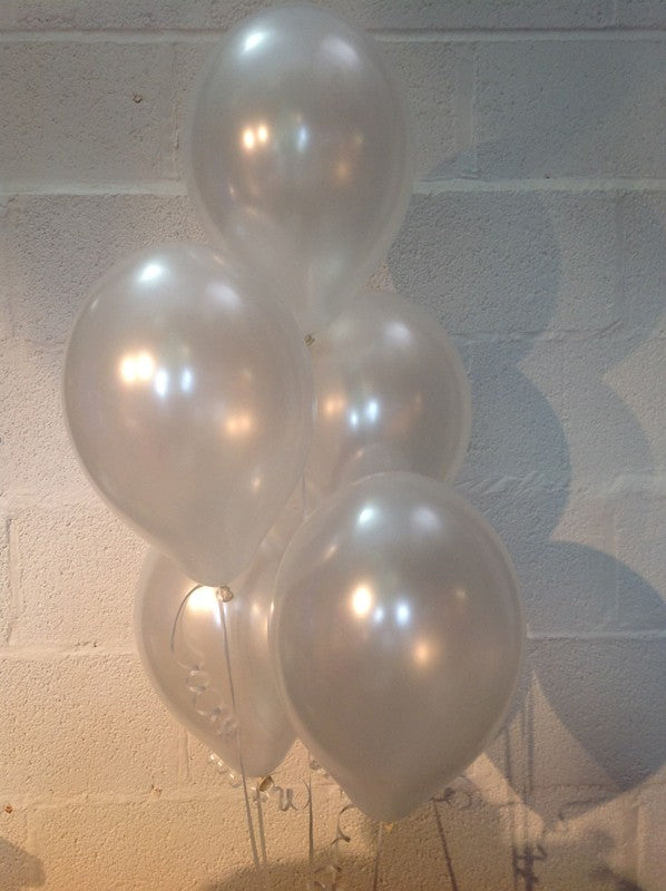 Pearl White Single Shade Range Pearlised Latex Balloons (Helium Quality)
