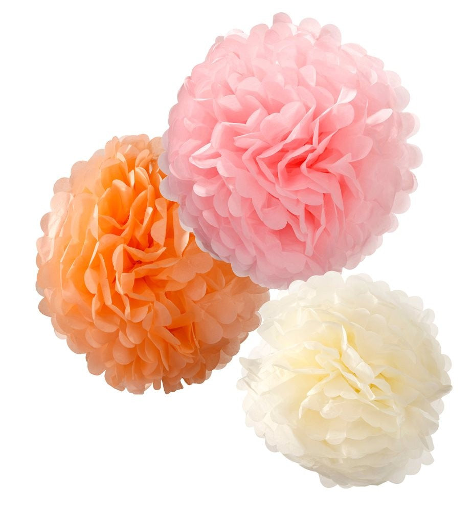 3 Pom Pom Decorations - Pretty Pink, Blush & Cream