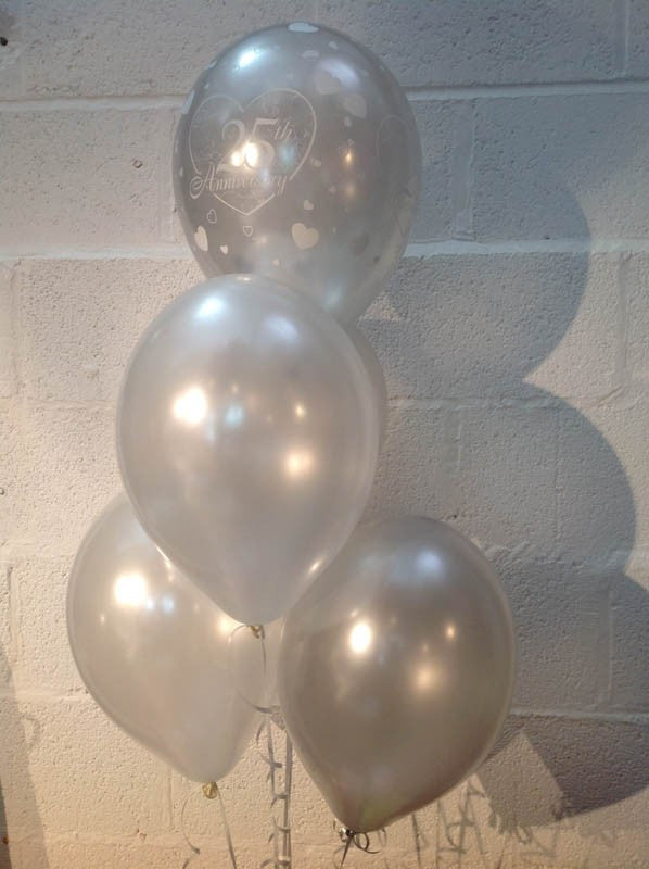 Silver Wedding (25th Anniversary) Pearlised Balloons, Silver & White (Helium Quality)