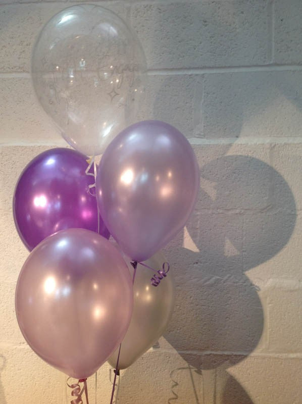 Lilac & Purple 'Happy Engagement' Pearlised Latex Balloons