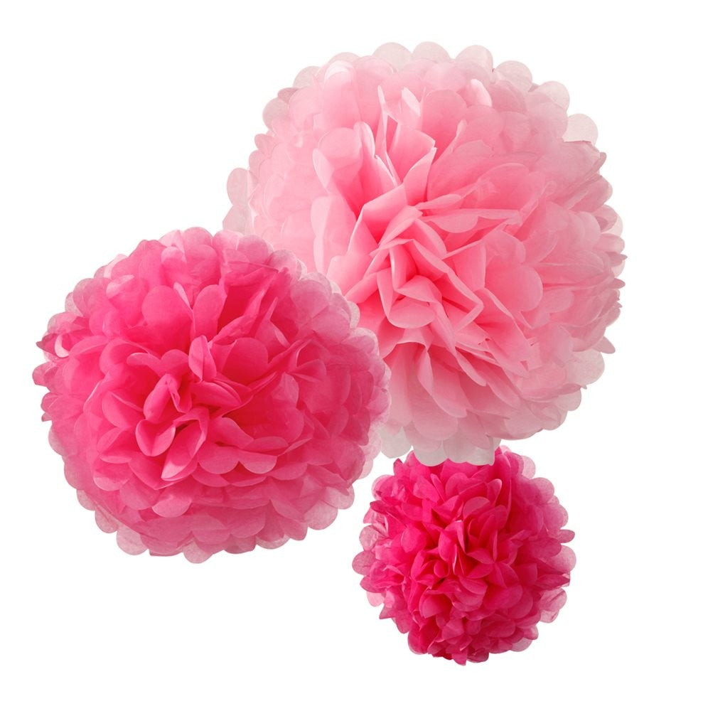 3 Pretty Pink Shades - Pom Pom Decorations