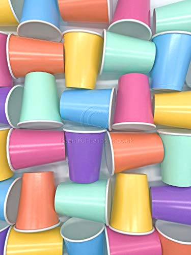 35 x Pastel Rainbow Paper Party Cups