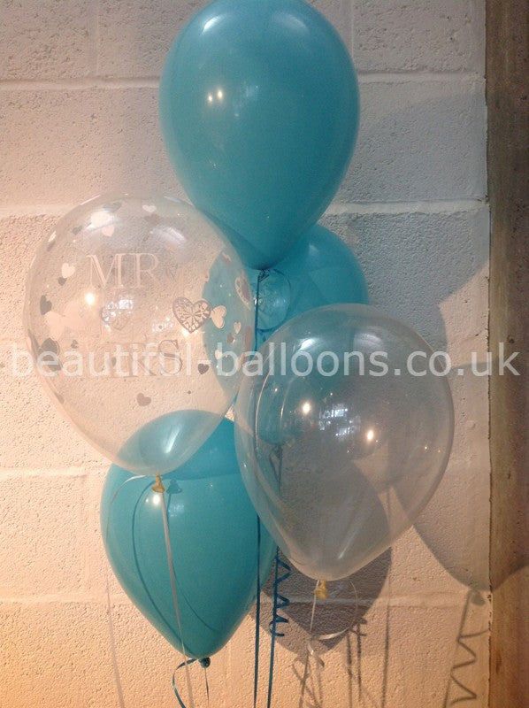 Caribbean Turquoise 'Mr & Mrs' Pearlised Balloons Wedding Range (Helium Quality)