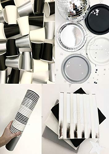 Black, Silver & White Stylish and Chic Party Kit - Cups, Napkins and Plates! Complete Kit