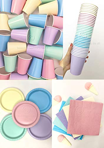 Ice Cream Pastel Rainbow Party Kit! Cups, napkins and plates!