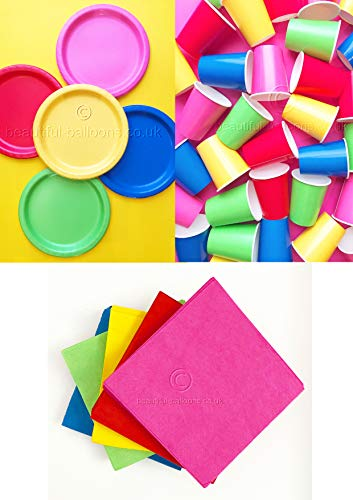 Bright Rainbow Party Kit - Cups, Napkins and Plates! complete kit