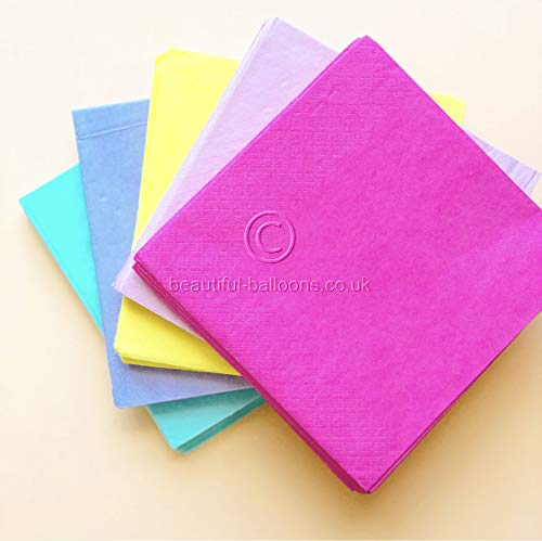 100 x Pastel Rainbow Lunch Napkins - Kid's parties, afternoon tea