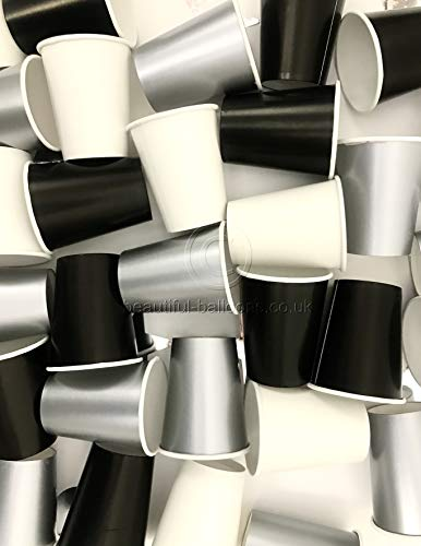 35 x Black, Silver & White Stylish and Chic Paper Party Cups