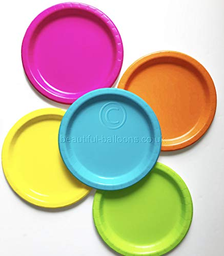 40 x 9 inch Neon Paper Party Plate Range - disco, fluorescent, 80s