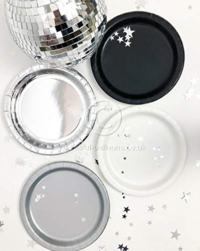 40 x Black, Silver & White Stylish and Chic Paper Party Plates