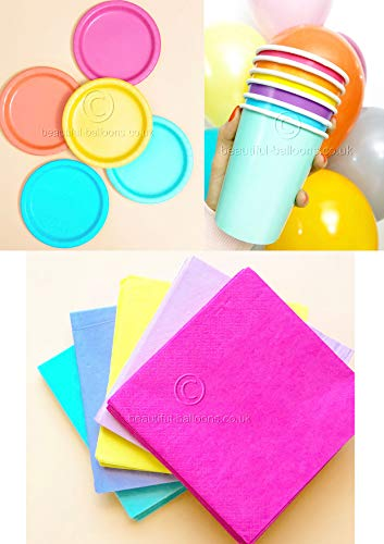 Pastel Rainbow Party Kit - Cups, Napkins and Plates! complete kit
