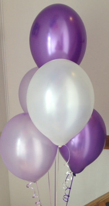 Pearlised Latex Balloons in Purple, Lilac and White (Helium Quality)