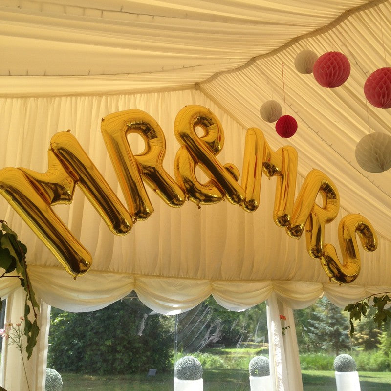"Jumbo Gold 'Mr & Mrs' 34"" Foil Large Letters Arch - Perfect for Weddings! INFLATED"