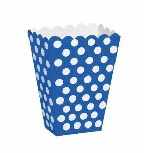 8 Polka Dot Treat Boxes (Royal Blue) With 8 Cellophane Bags