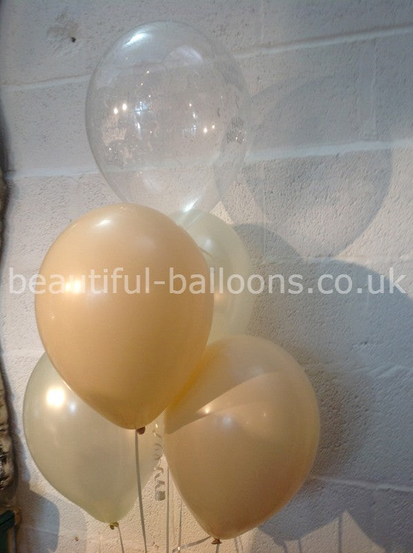 Champagne Bubbles & Ivory 'Happy Birthday' Range Pearlised Latex Balloons with Curling Ribbon