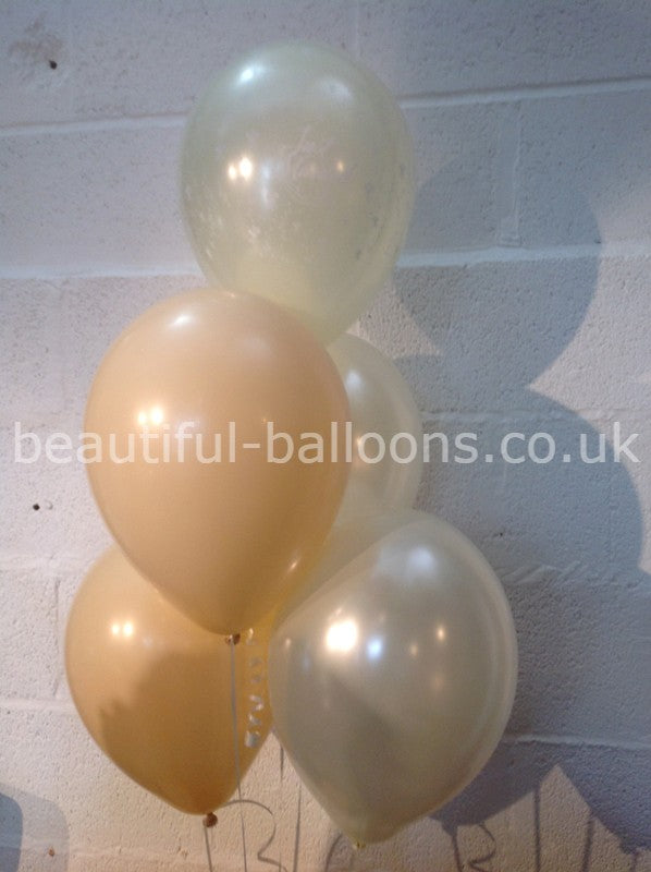 Champagne Bubbles & Ivory 'Just Married' Pearlised Balloons (Helium Quality)
