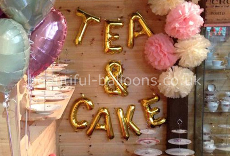 "Gold 'Tea & Cake' 16"" Foil Mini Letters Garlands"