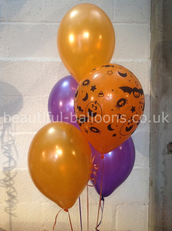 Purple, Orange & Printed Bats and Pumpkins Halloween Range Pearlised Latex Balloons (Helium Quality)