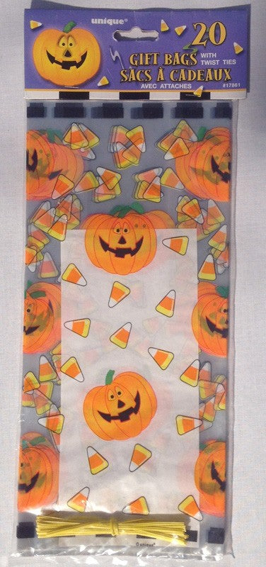 20x Pumpkin & Sweeties Cellophane Gift Bags with Yellow Twist Ties! Perfect for Halloween and Trick-or-Treating!
