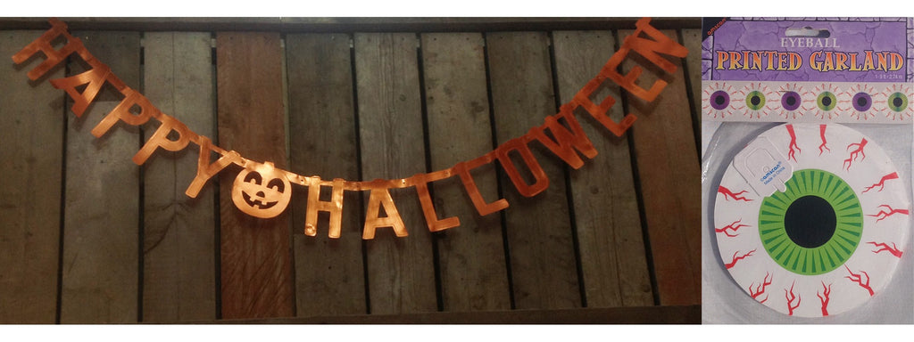 Happy Halloween & Creepy Eyeball Garland Set - Perfect Decorations for Halloween!