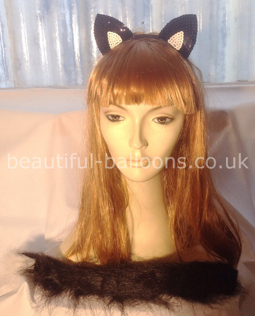 Cat Kit - Cat Ear Headband & Tail - Perfect for Halloween