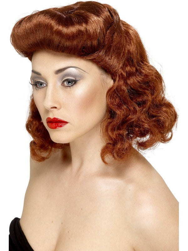 Pin Up Girl Red-Copper Wig - Perfect for Halloween!