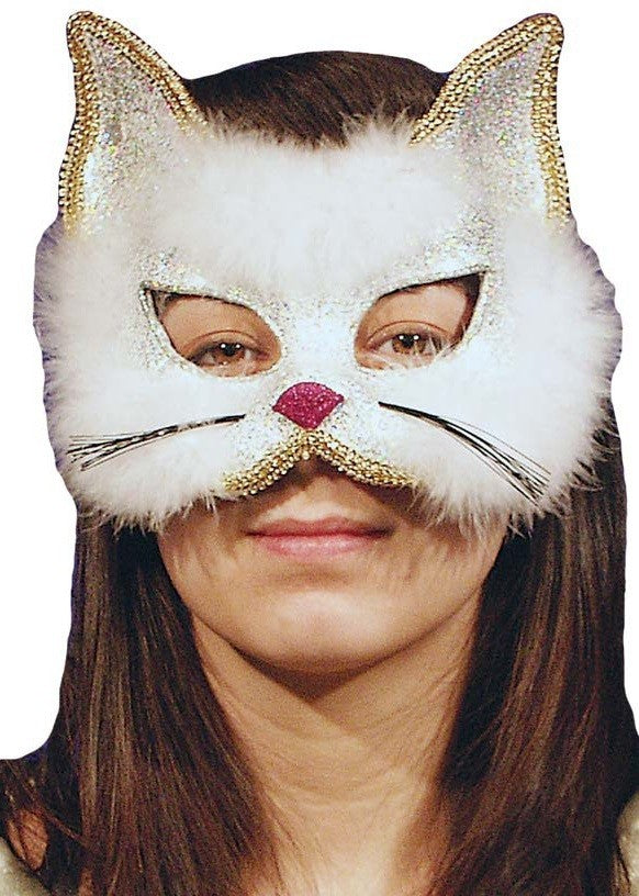 Glamourpuss Cat Masquerade Mask - White & Glittery - Perfect for Halloween!