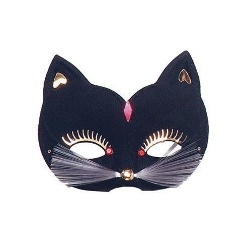 Masquerade Cat Mask with Pretty Eyelashes Whiskers - Perfect for Halloween!