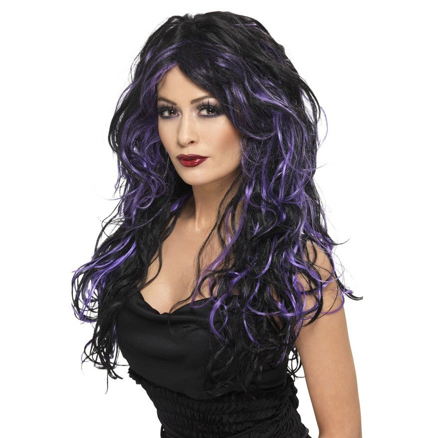Gothic Bride Wig with Purple Highlights - Perfect for Halloween!