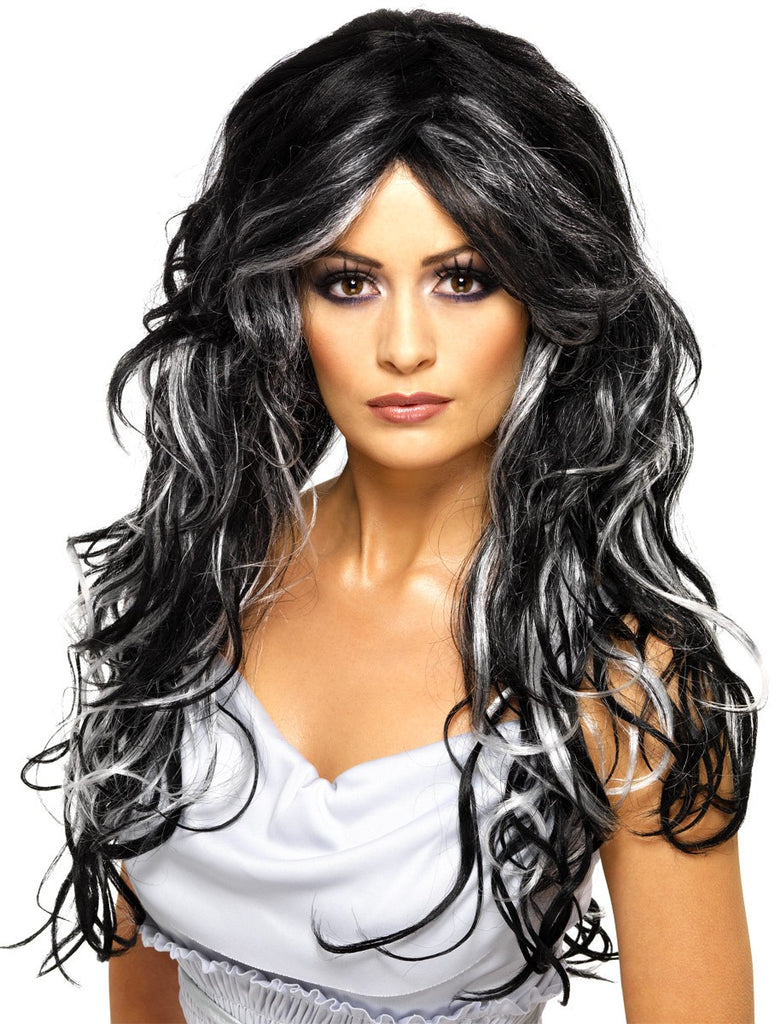 Gothic Bride Wig with White Highlights - Perfect for Halloween!