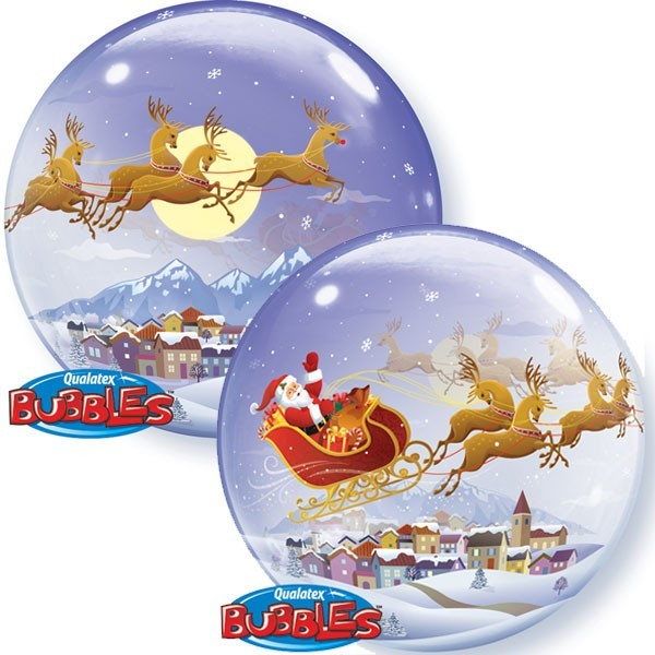 "Visit From St Nicholas - 22"" Christmas Bubble Balloon Including Fairy Lights!"