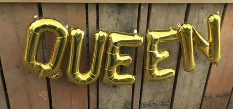"QUEEN in Gold Mini 16"" Balloon Letters - air fill Union Jack Royal birthday party"