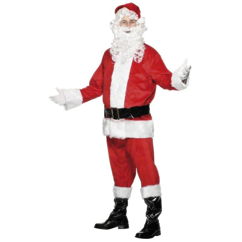 Adult Costume - Father Christmas Costume Santa Velour, Size XL