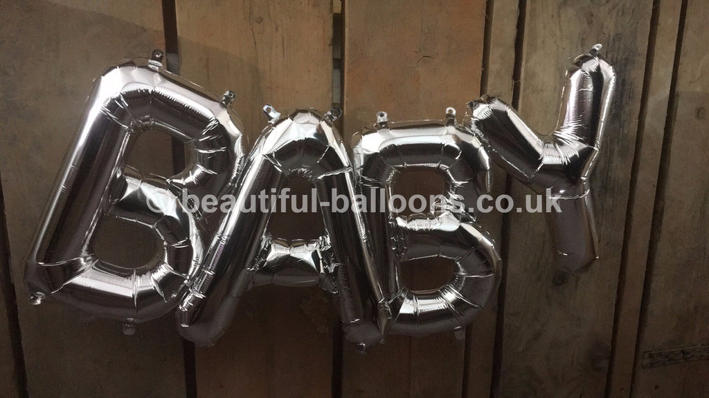 "Silver 'Baby' 16"" Foil Mini Letter Garland"