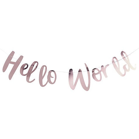 Hello World Rose Gold Baby Shower-New Baby Bunting