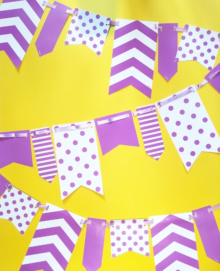 10ft Purple and White Spot and Stripe Reversible Flag Bunting
