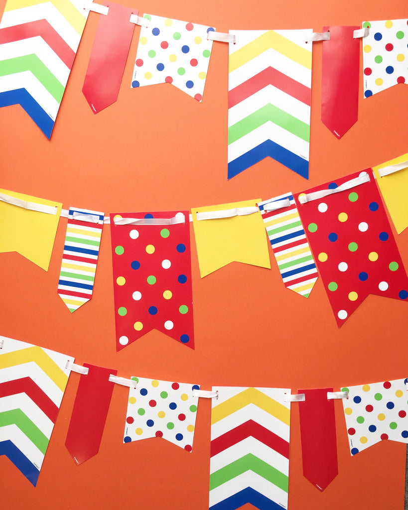 10ft Primary coloured Spot and Stripe Reversible Flag Bunting