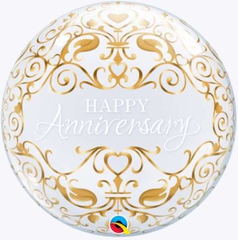 Happy Anniversary Gold Decoration Bubble Balloon 22""