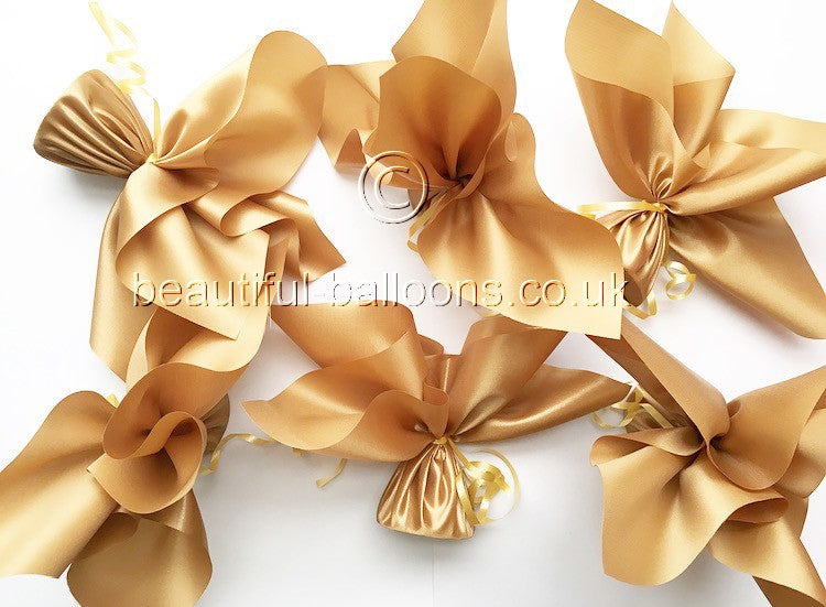 6 Glamorous Gold Satin Balloon Weights