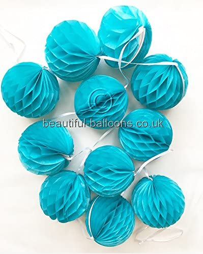 7ft Mini Honeycomb Garland in Caribbean Teal