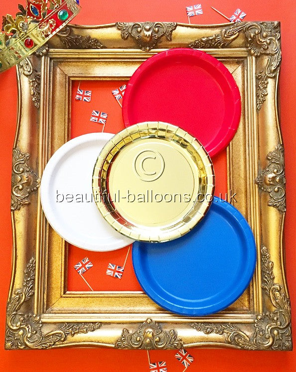 40 x Red, Blue, White & Gold Paper Plates