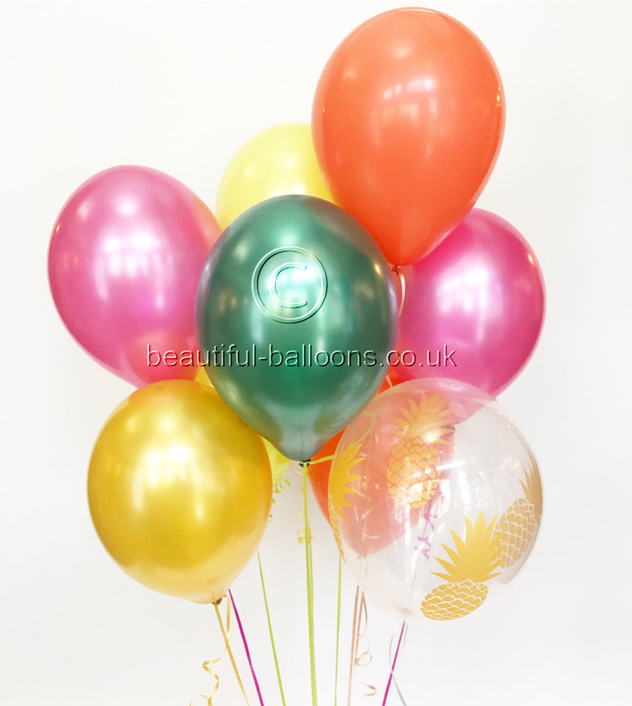 Pineapple Fiesta Shade Range Latex Balloons - Tropical Party!