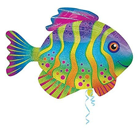 Colourful Fish Shaped Holographic Supershape Foil Balloon