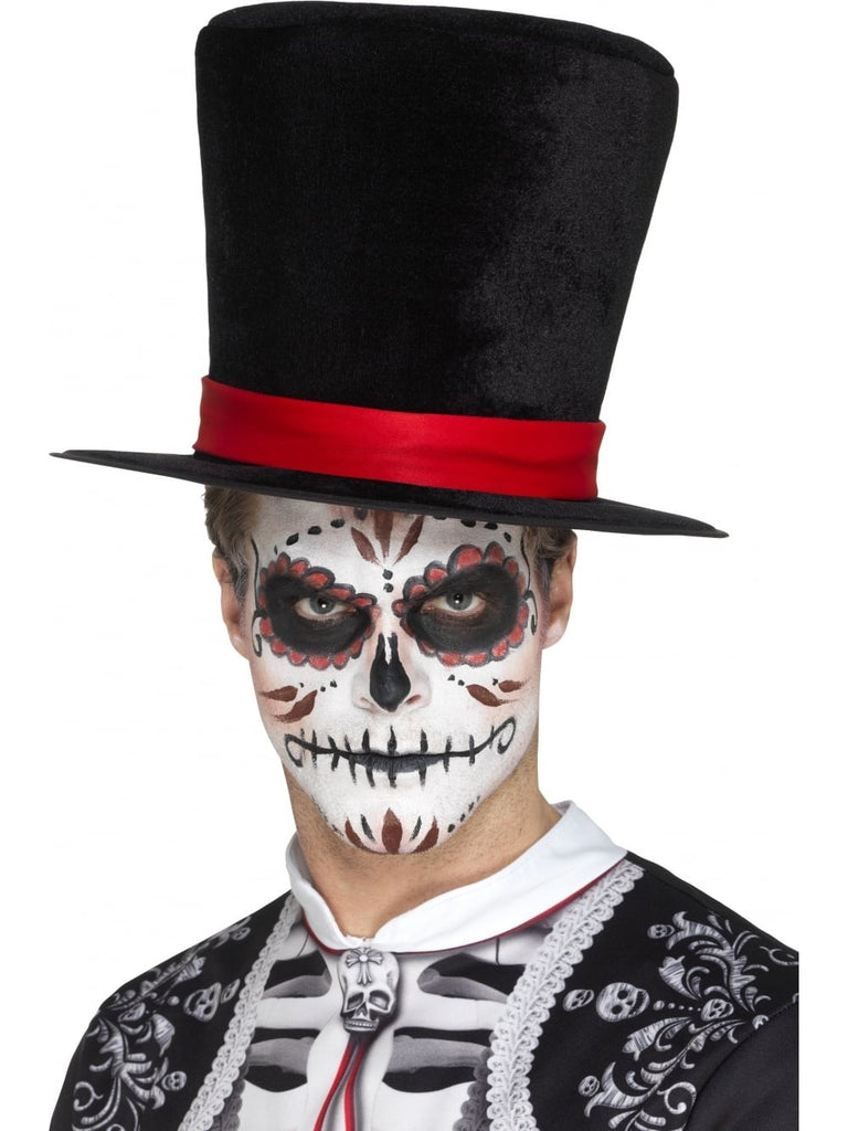 Day of the Dead Top Hat in Black with Red Band