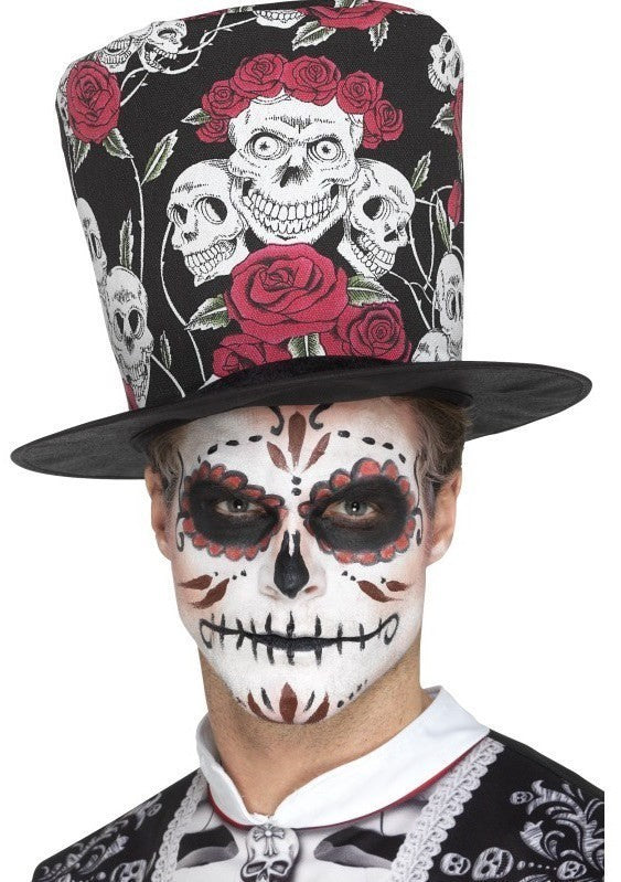 Day of the Dead Skull and Rose Top Hat