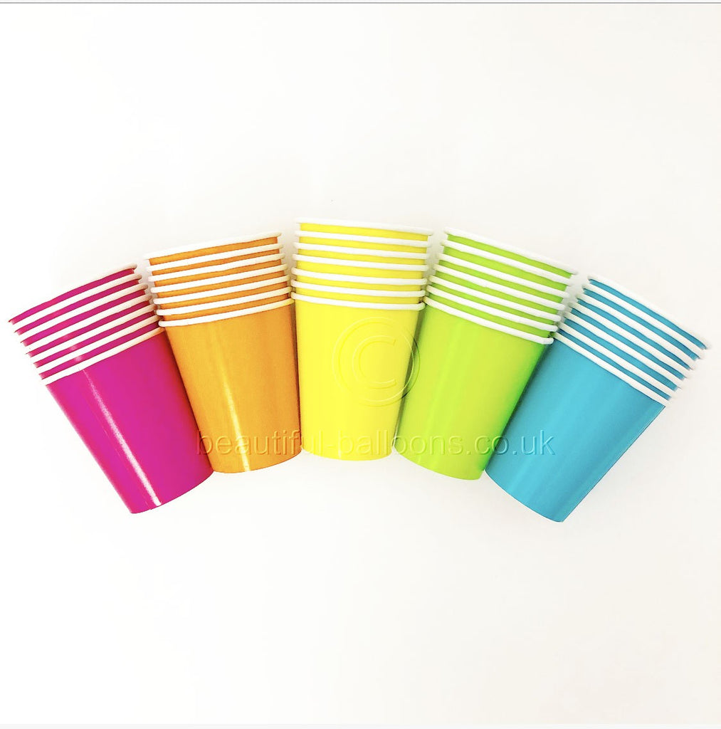 35 x Neon Rainbow Paper Party Cups - Florescent Disco 80s