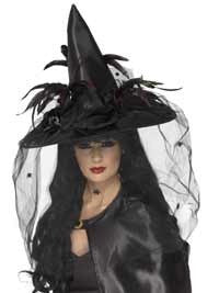 Deluxe Black Feather Witch Hat