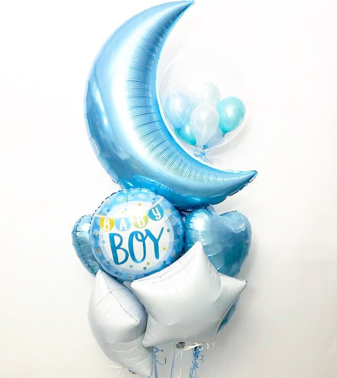 Blue Baby Shower Balloon Bunch