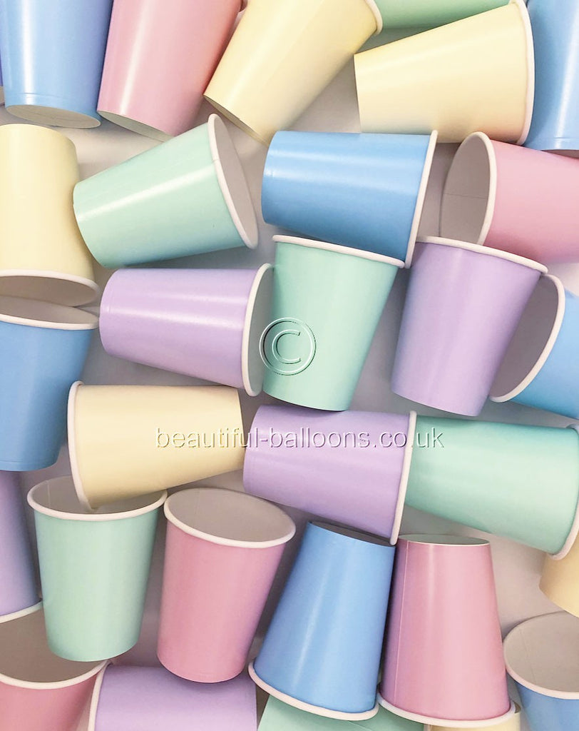 35 x Pastel Rainbow Ice Cream Shade Paper Party Cups