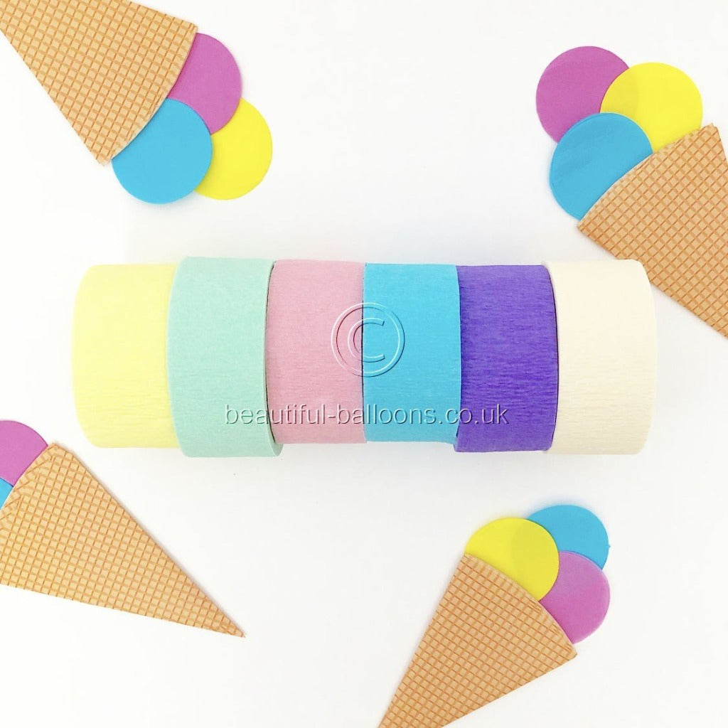 6 x Pastel Rainbow Ice Cream Shade Crepe Roll Party Streamers